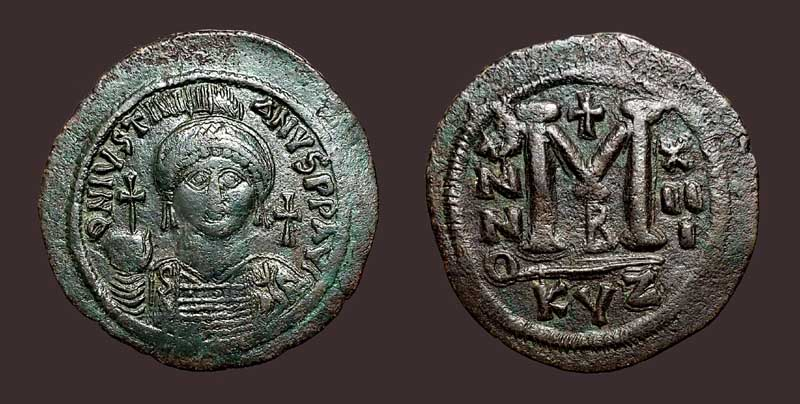 Byzantine Empire Justin Half Follis Sophia Thessalonica Ae 21 Nice Coin Coins & Paper Money